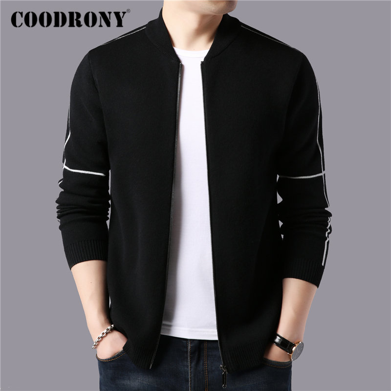 COODRONY Brand Sweater Men Streetwear Fashion Zipper Sweater Coat 2019 Autumn Winter Thick Warm Cashmere Wool Cardigan Men 91102