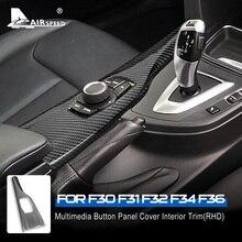 AIRSPEEDสำหรับBMW F30 F31 F32 F34 F36 อุปกรณ์เสริมคาร์บอนไฟเบอร์รถยนต์มัลติมีเดียปุ่มลูกบิดแผงสติกเกอร์ภายในtrim
