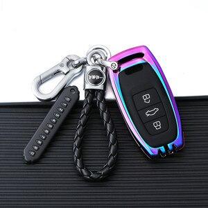 Image 1 - Verzinktem Legierung Auto Schlüssel Fall Für Audi A3 A4 A5 A6 B6 B7 B8 Q5 Q7 Fernbedienung Schutz Abdeckung schlüsselbund Tasche Auto Zubehör