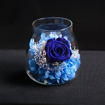Water drop type immortal flower decoration Eternal Flower Prince Glass Cover Immortal Home Desktop Decors image
