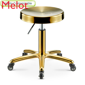 High customizable Gloden Barber Chair Stainless Steel Metal Rotate Lift Beauty Stools Nail Embroidery Chairs with Rollers - discount item  5% OFF Commercial Furniture