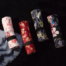 Pen-Case-Holder Pencil-Bag Canvas-Wrap Writing-Supplies Roll-Up for Girls Boys Stationery