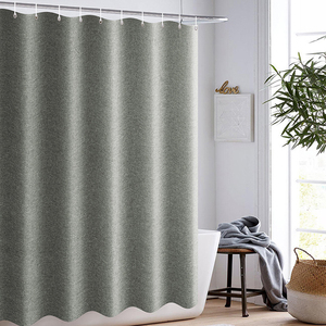 Image 2 - Thickened Imitation Linen Shower Curtains Solid Hotel High Quality Waterproof Bathroom Curtain for Hotel & Home