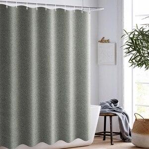 Image 2 - Verdickt Nachahmung Leinen Dusche Vorhänge Solide Hotel Hohe Qualität Wasserdichte Bad Vorhang für Hotel & Home
