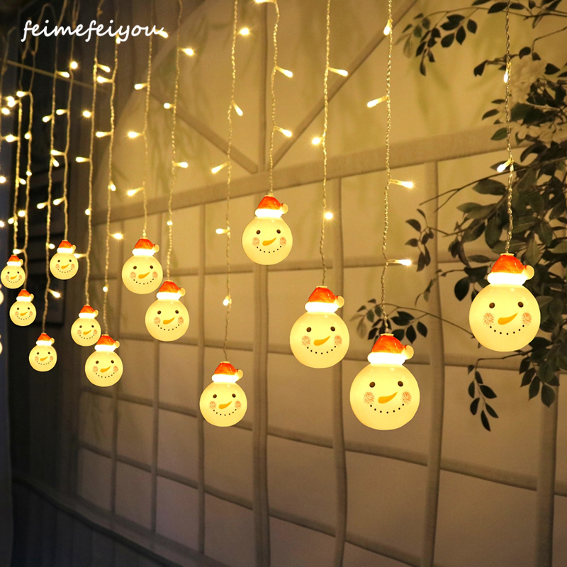 3.5m 96 LED Christmas Curtain Lights Snowman Style Outdoor Waterproof Fairy Garland Light String Living Room Bedroom Light