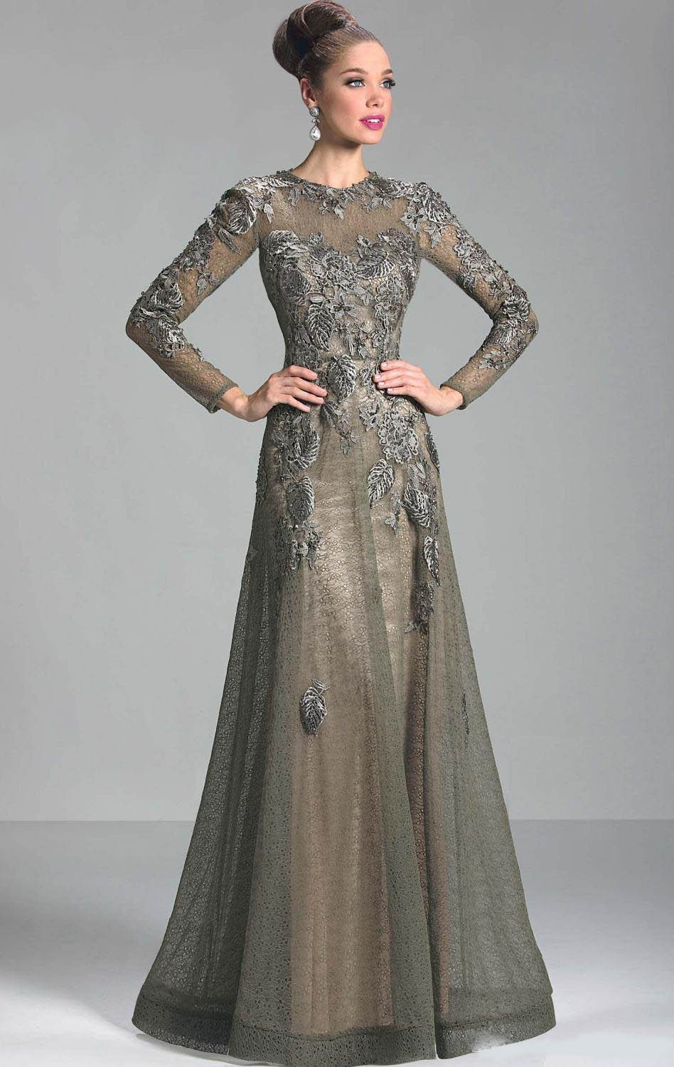 Long Sleeves 2019 Mother Of The Bride Dresses A-line Tulle Appliques Lace Plus Size Long Groom Mother Dresses For Weddings