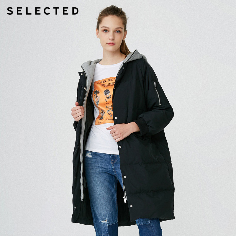 SELECTED Winter New Women's Duck Down Hooded Medium Long Down Jacket S  418412555