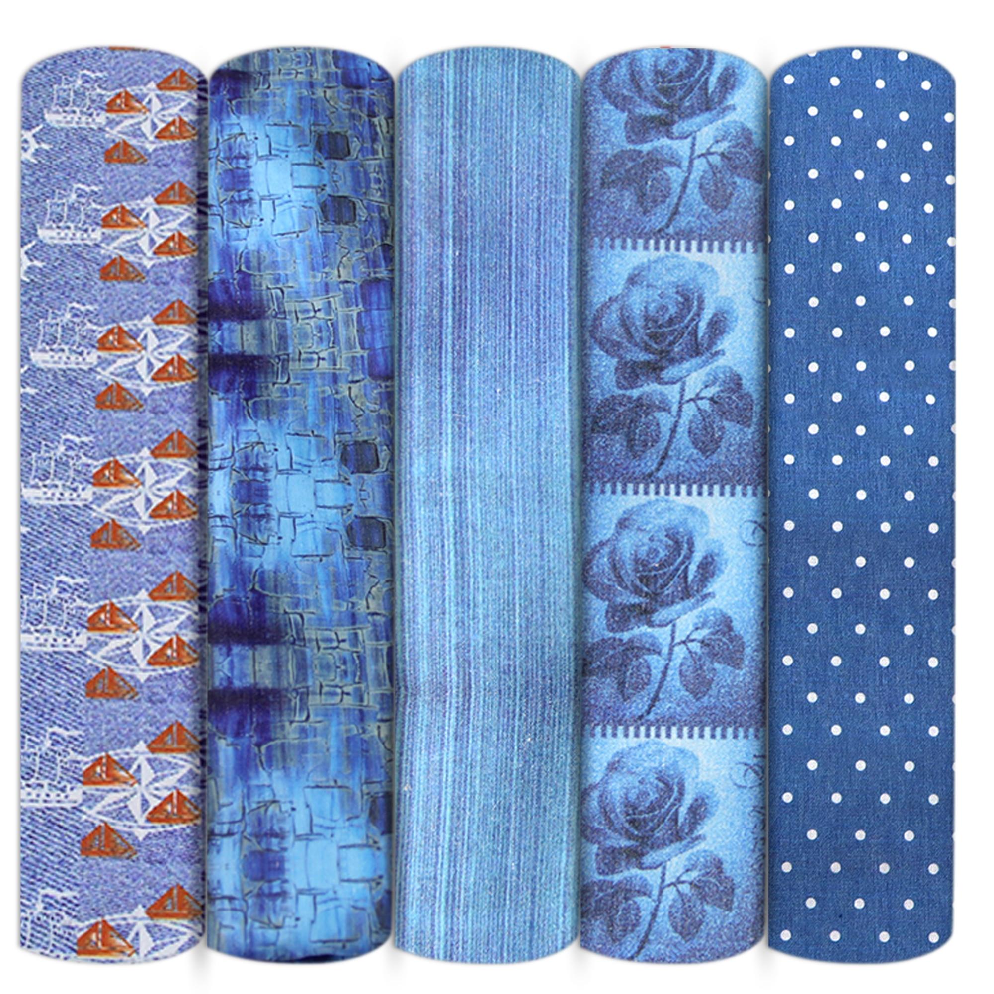Джинсовая цветная ткань из полиэстера и хлопка, лоскутное шитье, квилтинг, рукоделие, ткань ручной работы «сделай сам», 1Yc14066