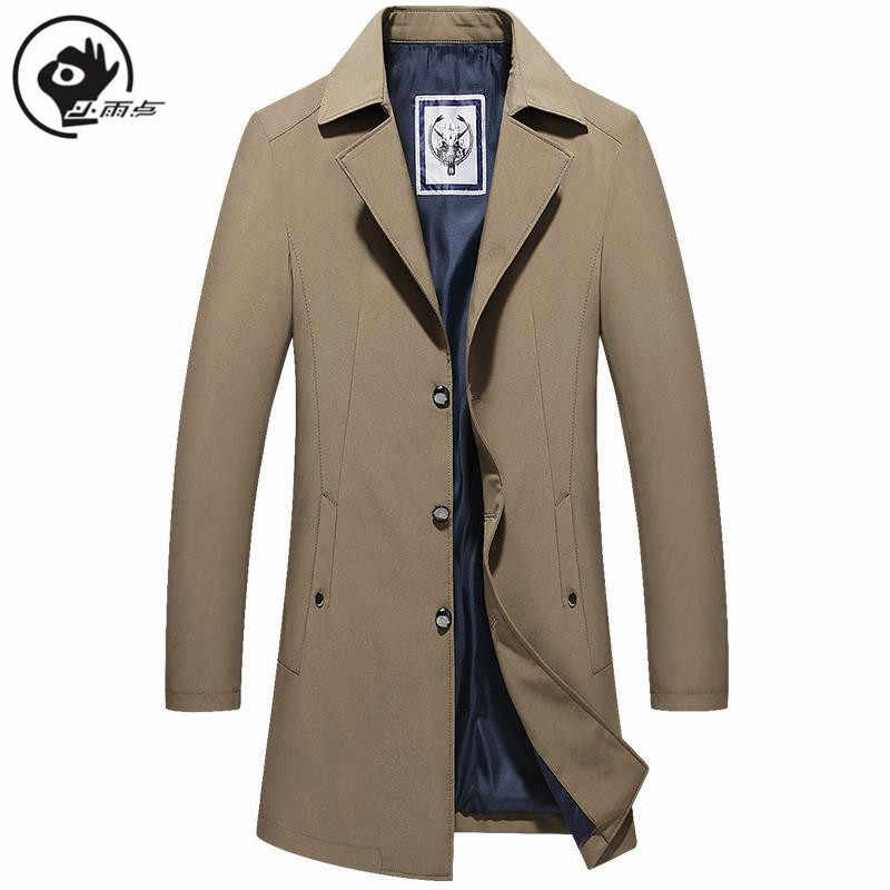 XiaoYudian Mens Trench Coats British Style Solid Long Coat Vintage Men Fall Long Coats Double Collar Jackets oversize trench man