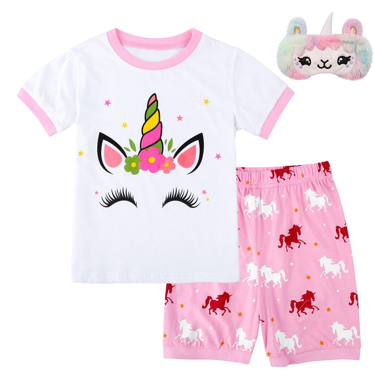 Пижамный комплект с единорогом для девочек, летняя повседневная Милая одежда для сна, хлопковая ночная рубашка с коротким рукавом и рисунко...