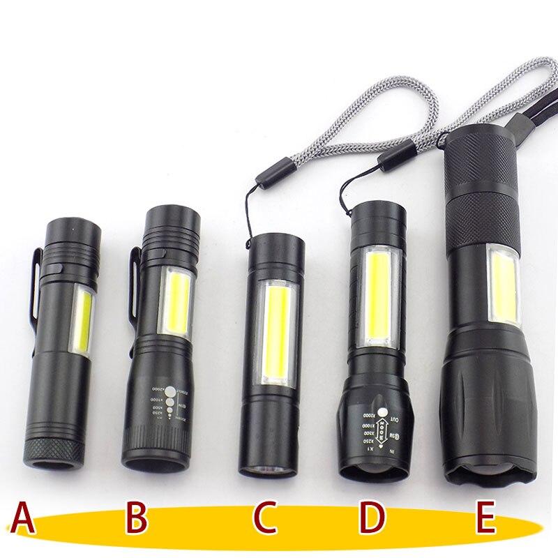 Lampe torche de travail à la torche, mini-puissance 2 en COB Q5 USB rechargeable linterna lampe de poche à la torche batterie pour la pêche Camping linternas