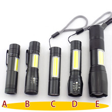 mini powerful 2 LED flashlight COB Q5 USB rechargeable linterna work flash light