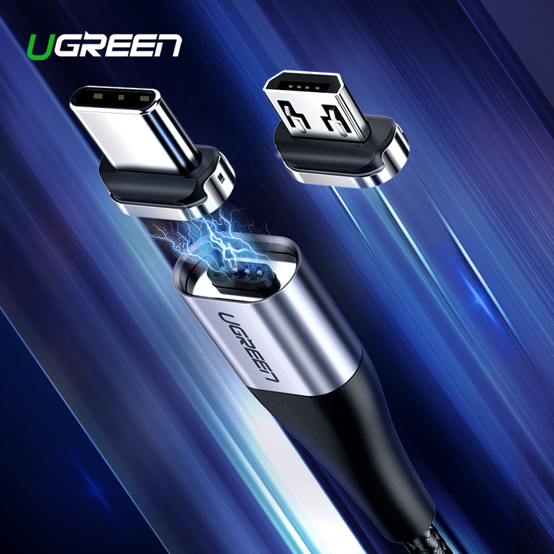 Ugreen Magnetic Micro USB Cable 2.4A Fast Charging Data Cable for Samsung Huawei Xiaomi LG Magnet Charger Mobile Phone USB Cord pochette étanche pour téléphone