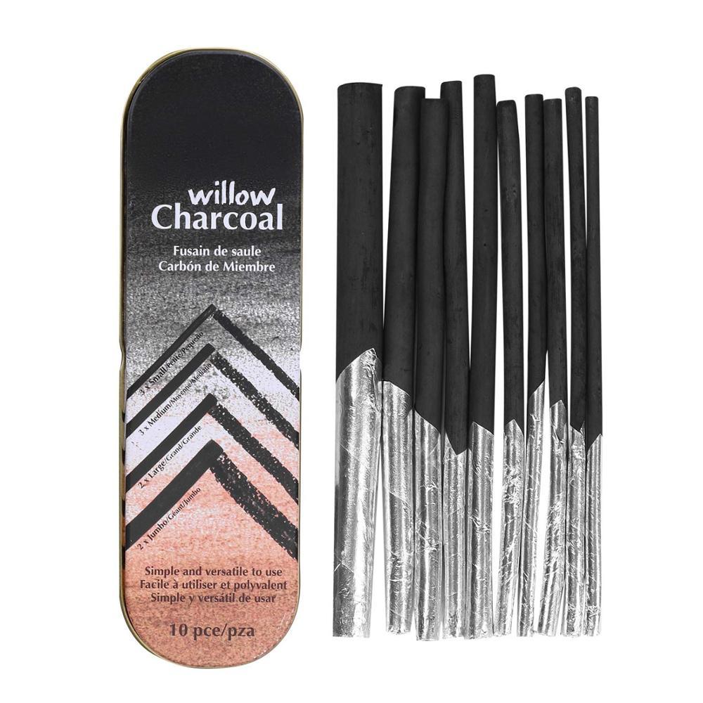 10 шт., палочки для древесного угля, карандаши для рисования, скетч с тонированной бумагой Tinfoil и металлической коробкой для художественного ...