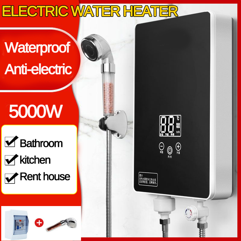 5000W 220V Electric Tankless Water Heaters Instantaneous Water Heater Intelligent Instant Water Heating Fast 3 Second Hot Shower