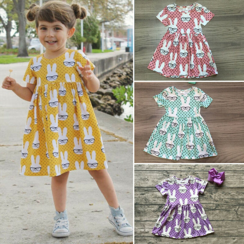 Summer Toddler Baby Kids Girl Dress Easter Cartoon Rabbit Bunny Tutu Dress A Line Dresses Party Cotton Clothes