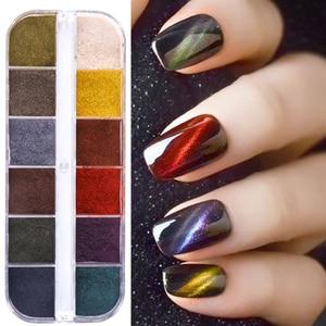 12 Grid Cat Eye Nail Glitter Powder Chrome Nail Pigment Dust Manicure Gel Polish Sequins Nail Art Decoration Decor GL12grid-5DMY