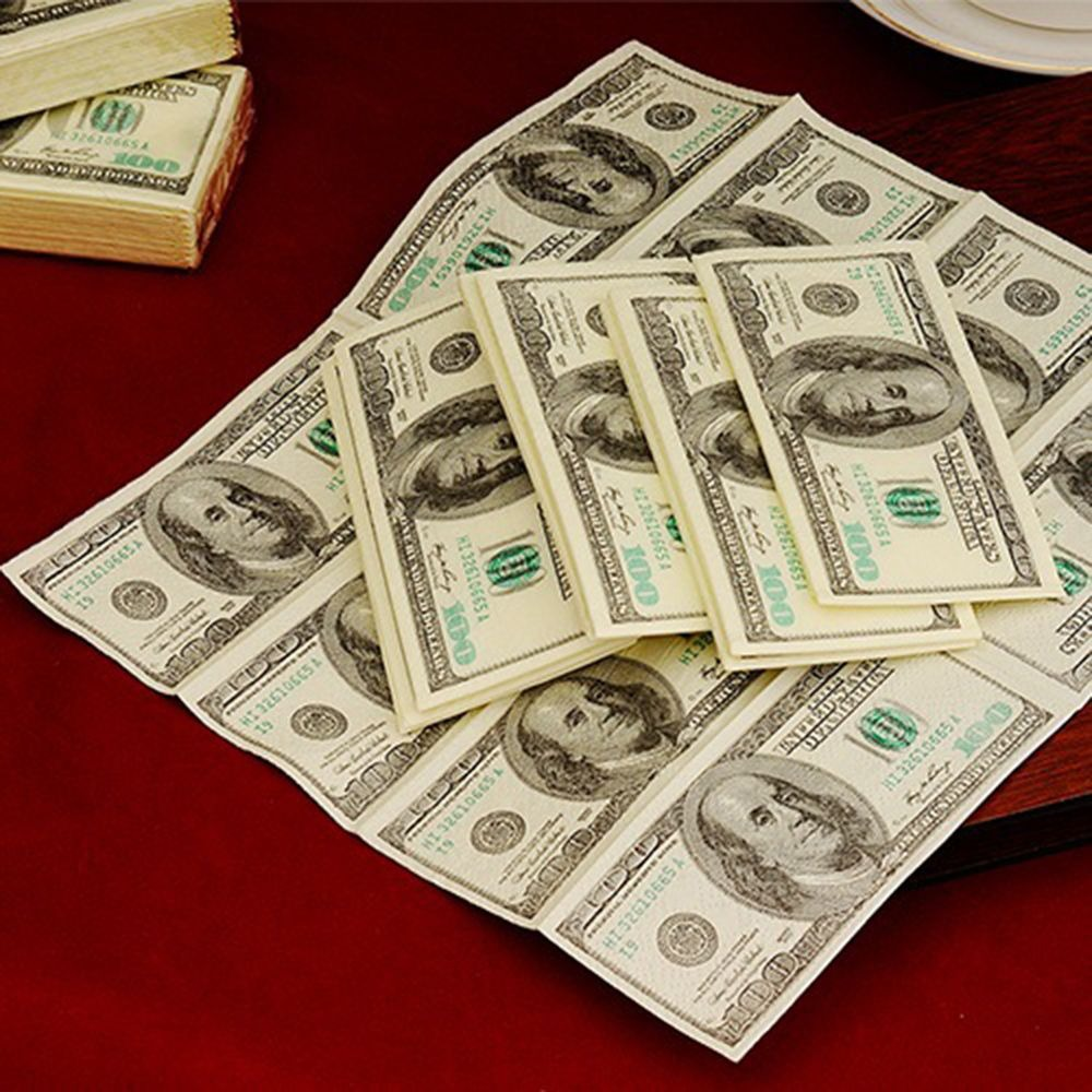10pc 100$ Dollars Napkin US Dollar Bill Money Paper Towel Party Tricky Gift Disposable Napkins Wedding Party Birthday Decoration|Paper Napkins & Serviettes|   - AliExpress