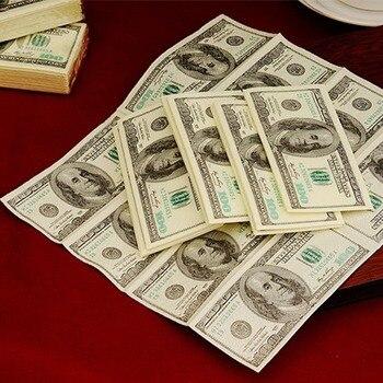 Servilleta de 100 dólares de 10 unidades, nuestro billete de dólar, papel para dinero, toalla para fiesta, regalo complicado, servilletas desechables, decoración de cumpleaños de fiesta de boda