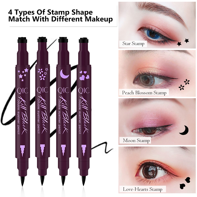 QIC Double-head Stamp Eyeliner Black Liquid Eyeliner Waterproof Tattoo Pen Makeup Tools 4 Stamp Styles of Star/Moon/Titoni/Heart image