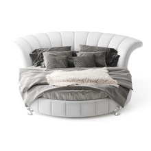 cheap modern white leather king size round bed on sale(China)