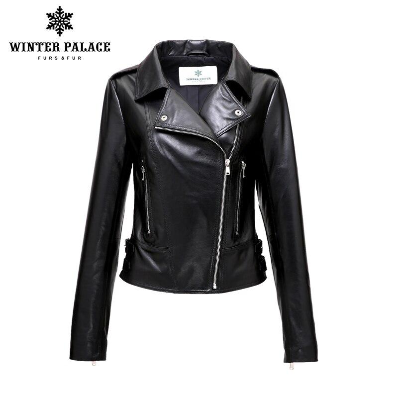 Marca da motocicleta jaqueta de couro nova moda jaqueta de couro das mulheres 2018 primavera preto genuíno jaqueta de couro feminino inverno palácio