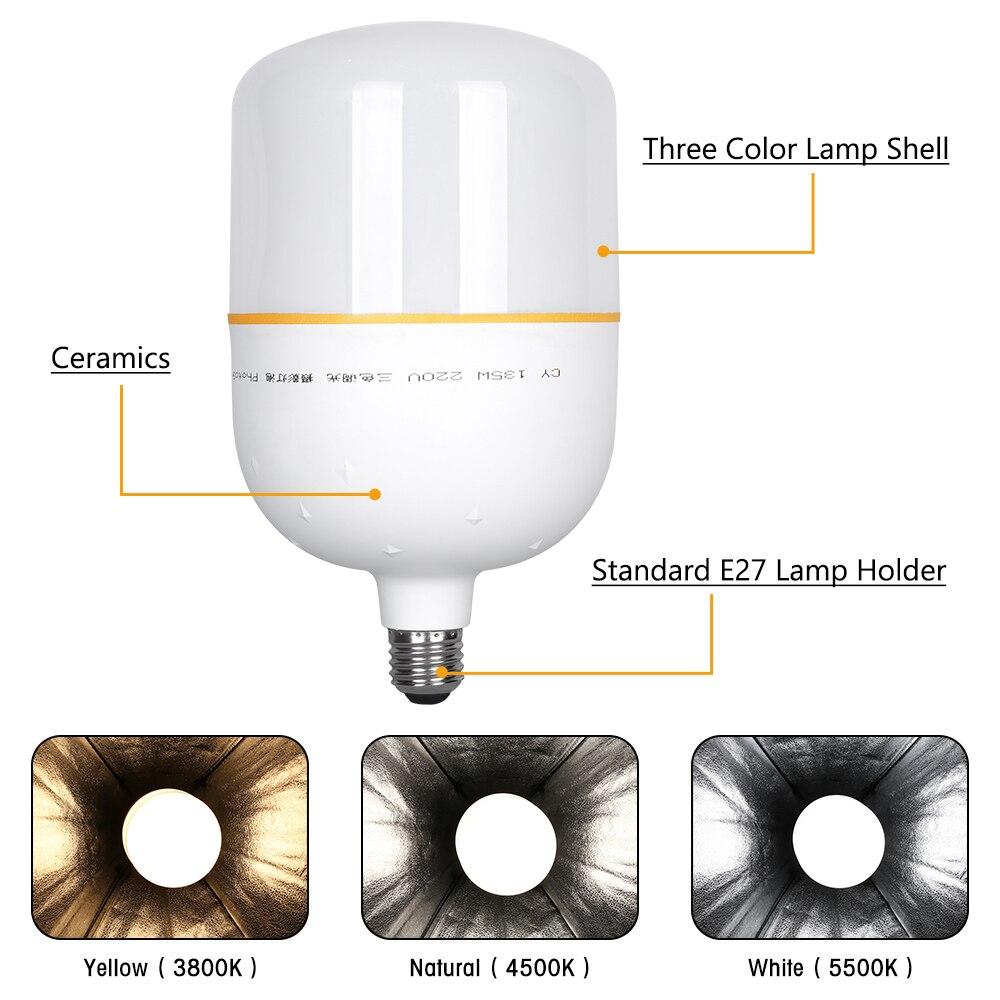 3 Mode 2 couleur température photographie LED ampoules déclairage haute luminosité 135 W E27 Base pour Photo photographique Studio vidéo lumière