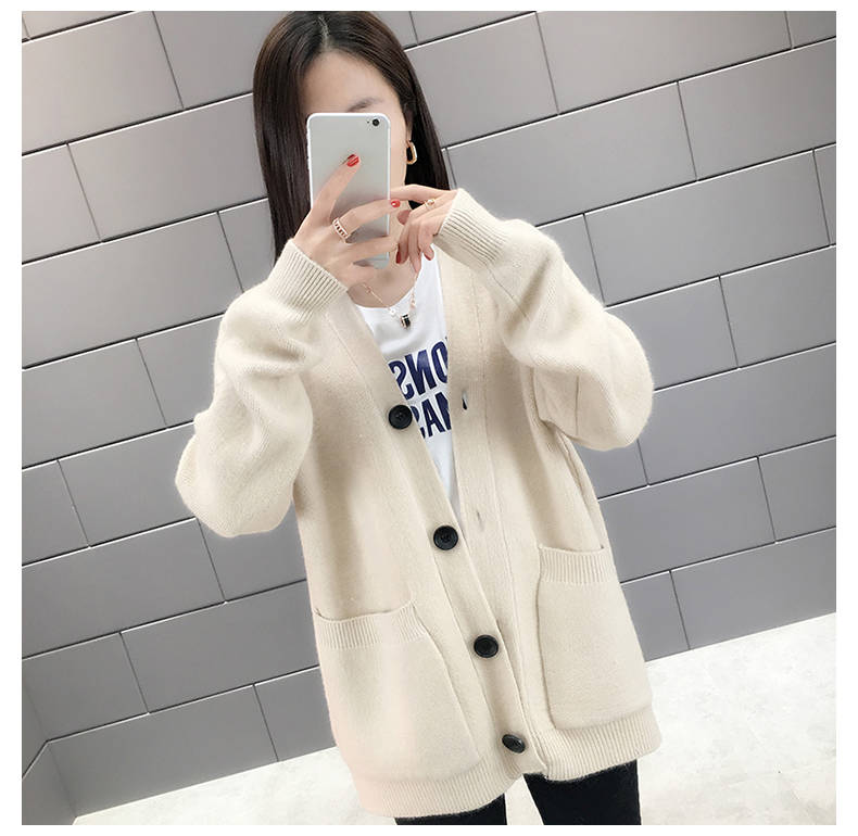 Woherb Black Knitted Sweater Women V Neck Long Sleeve Solid Color Cardigan Vintage Harajuku Casual Loose Tops Fashion New 90728 20