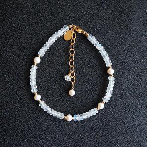 Lii Ji натуральный камень лунный камень пресноводный жемчуг Браслет американский 14K GF золотой цвет регулируемый браслет для женщин подарок