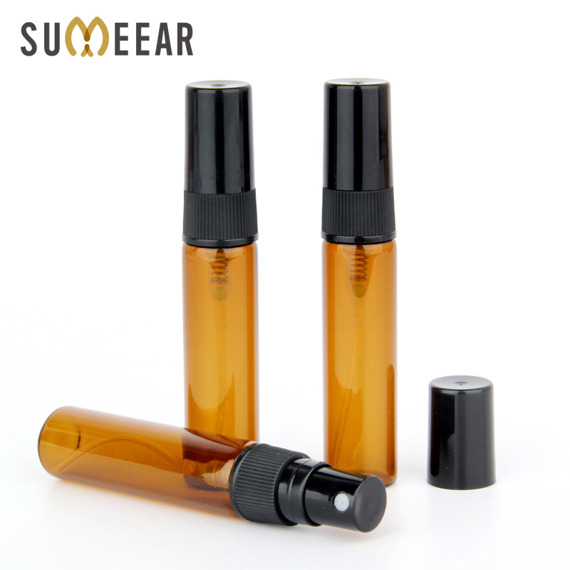 100 Piece/Lot 5ml Atomizer Perfume Bottle Amber Spray Bottle Empty Parfum Sample Bottle Essential Oil Cosmetic Container