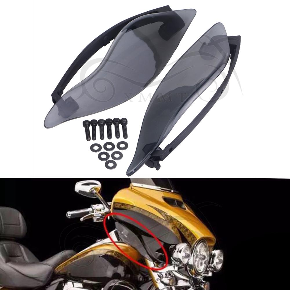 Adjustable Fairing Side Wings Air Deflectors For Harley Touring 2014-2016 Smoke
