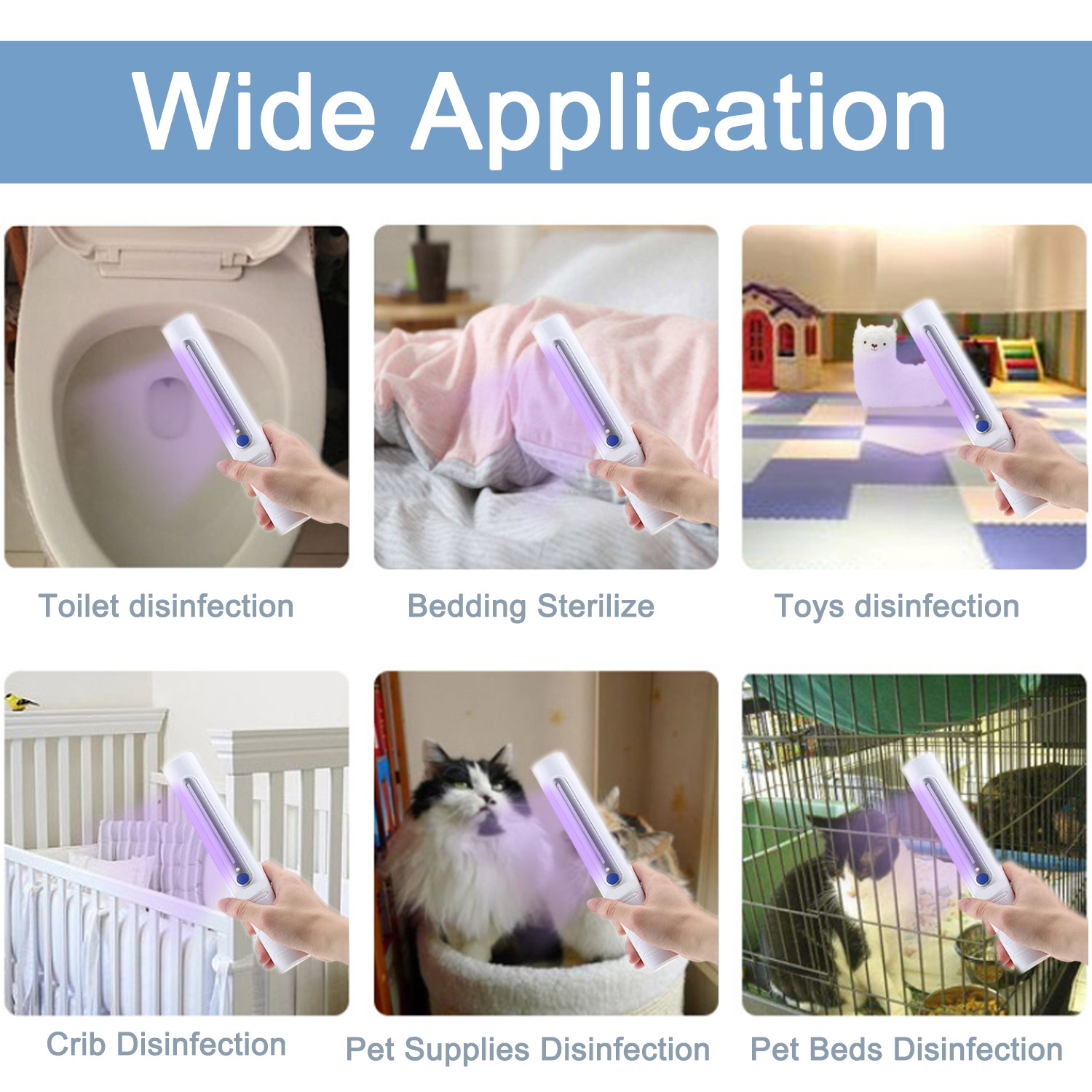 Portable Handheld Battery Powered UV Disinfection Lamp Sterilizer Light for Home Office Travel Phone Mask Key Door Handle