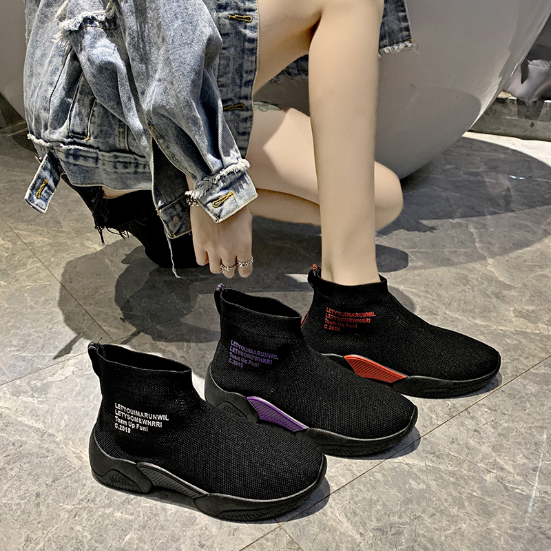 Socks shoes women summer new wild casual breathable elastic high-top sneakers socks boots 2019 autumn women shoes 24