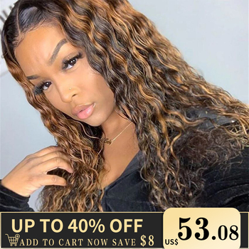 Highlight Lace Front Human Hair Wigs for Women 13x6 Ombre Honey Blonde Color Wig Water Wave Pre Plucked Remy - discount item  37% OFF Human Hair (For Black)