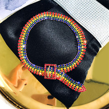 FYUAN Fashion Full Rhinestone Choker Necklaces for Women Bijoux Shiny Colorful Gold Crystal Button Necklaces Statement Jewelry fyuan shiny full rhinestone choker necklaces for women 2019 bijoux silver color crystal necklaces statement jewelry party gifts