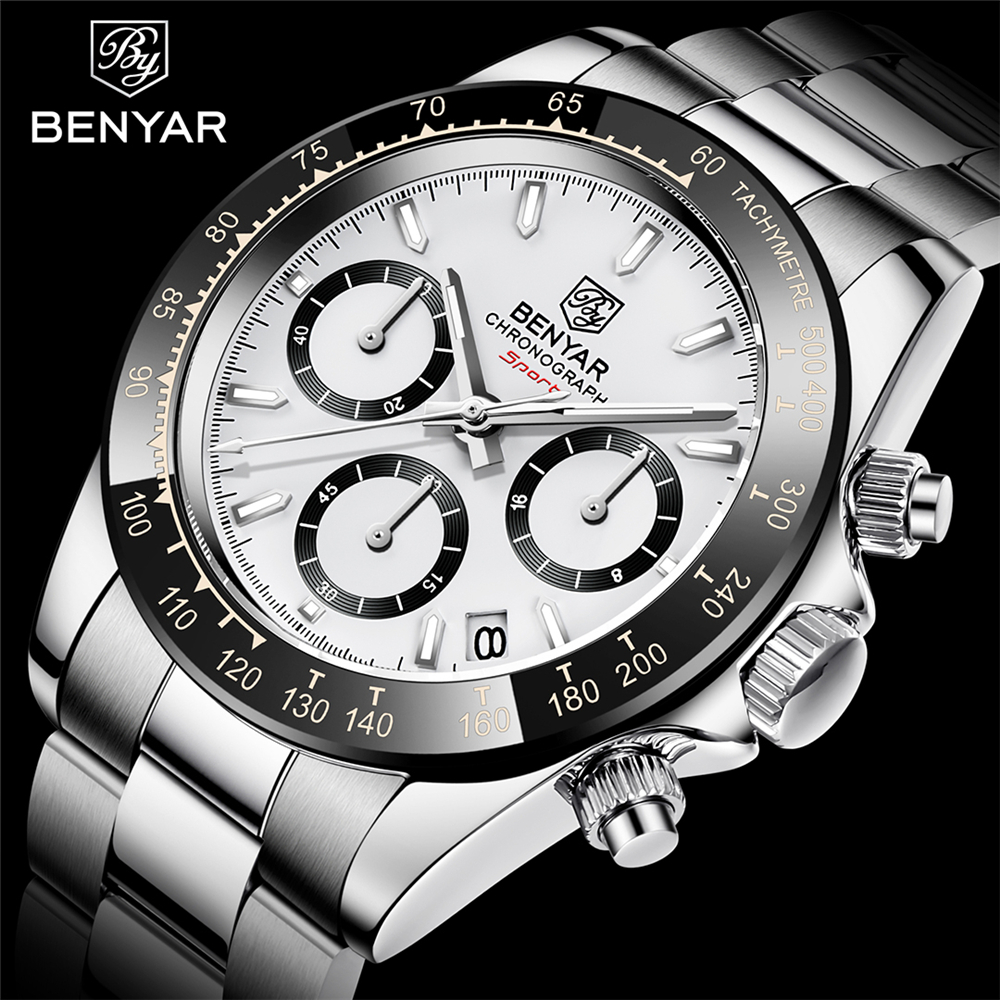 Relojes Hombre 2020 BENYAR New  Watches Men Luxury Brand Chronograph Male Sport Watches Waterproof Stainless Steel Quartz  Watch