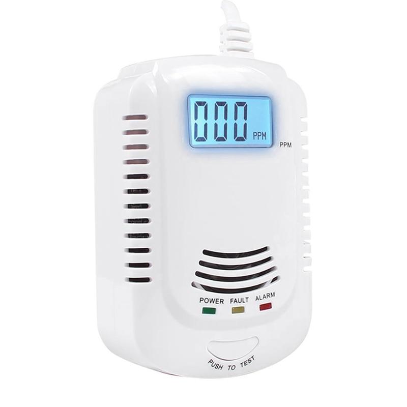 Combustible Gas Detector Sensor Lpg Natural Gas Analyzer Leak Determine Tester Sound-Light Alarm Security Alarm System (Eu Plug)