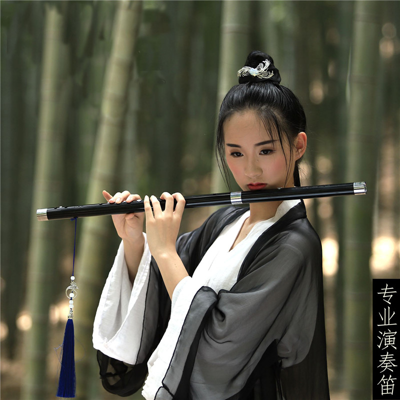 White Jade Flute Ancient Instrument Refined E F Tune Flute G Adult Professional Performance Examination Black Flute
