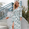 Sexy Summer Dress 2021 Women Spring Summer Long Sleeve Print A-line Women's V-neck Print Slim Dresses Vestidos Robe Female  4