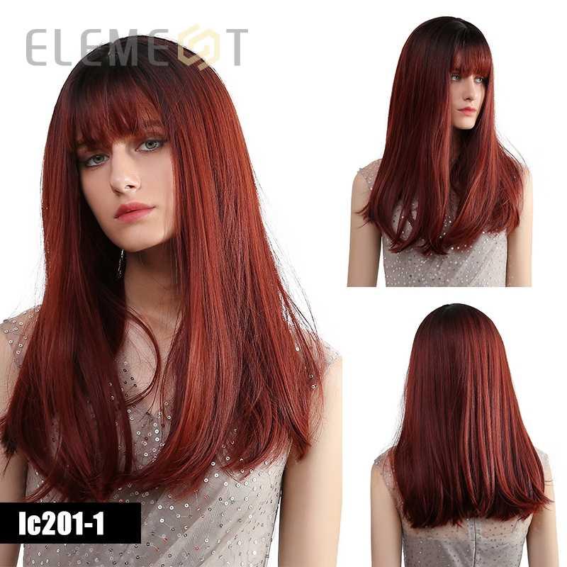 Element syntetyczne długie proste wino czerwone peruka z grzywką ciemny odrost Ombre Burgundy włosy Cosplay peruki dla kobiet