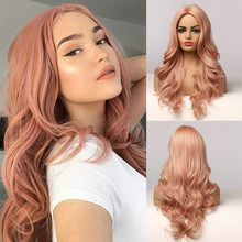 Long Wave Pink Synthetic Hair Wigs Middle Part Natural Wavy Heat Resistant Wigs for Afro Women Cosplay Party Fashion Wigs