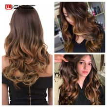 Wignee Synthetic Wigs With Bangs For Women Long Wavy Natural Hair Temperature 3 Tone Ombre Brown Glueless Cosplay Fake Hair Wigs