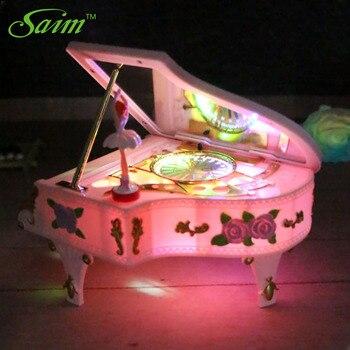 Saim Piano Music Box LED Lights Music Jewelry Boxes Rotating Ballet Girl Music Box Rose