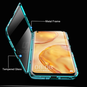 Image 3 - Hacrin Case For Huawei P40 Lite Case Magnetic Adsorption Metal Tempered Glass Bumper Case For Huawei P40 P 40 Lite Case Cover