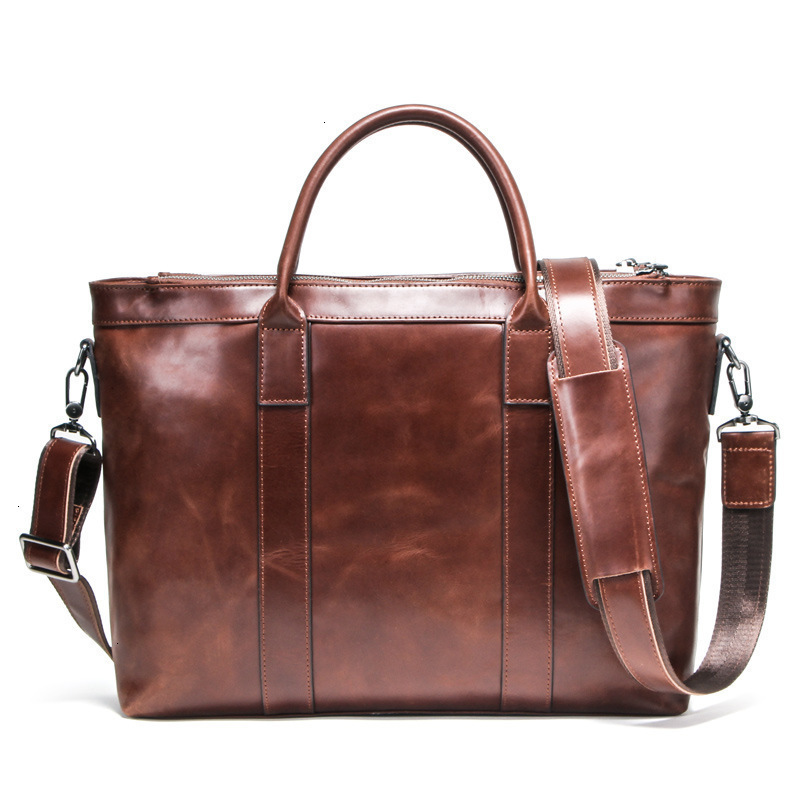 2020 New Genuine Mens Leather Laptop Messenger Bags Shoulder Retro Man Business Affairs Briefcase 14 Inch Computer Male Package