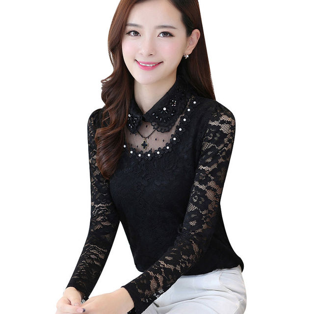 2020 Spring Autumn Women Hollow Long Sleeve Fit Lace Bottoming Shirt & Blouse Female Stitching Lace Tops & Blouse Plus Size 4XL 2
