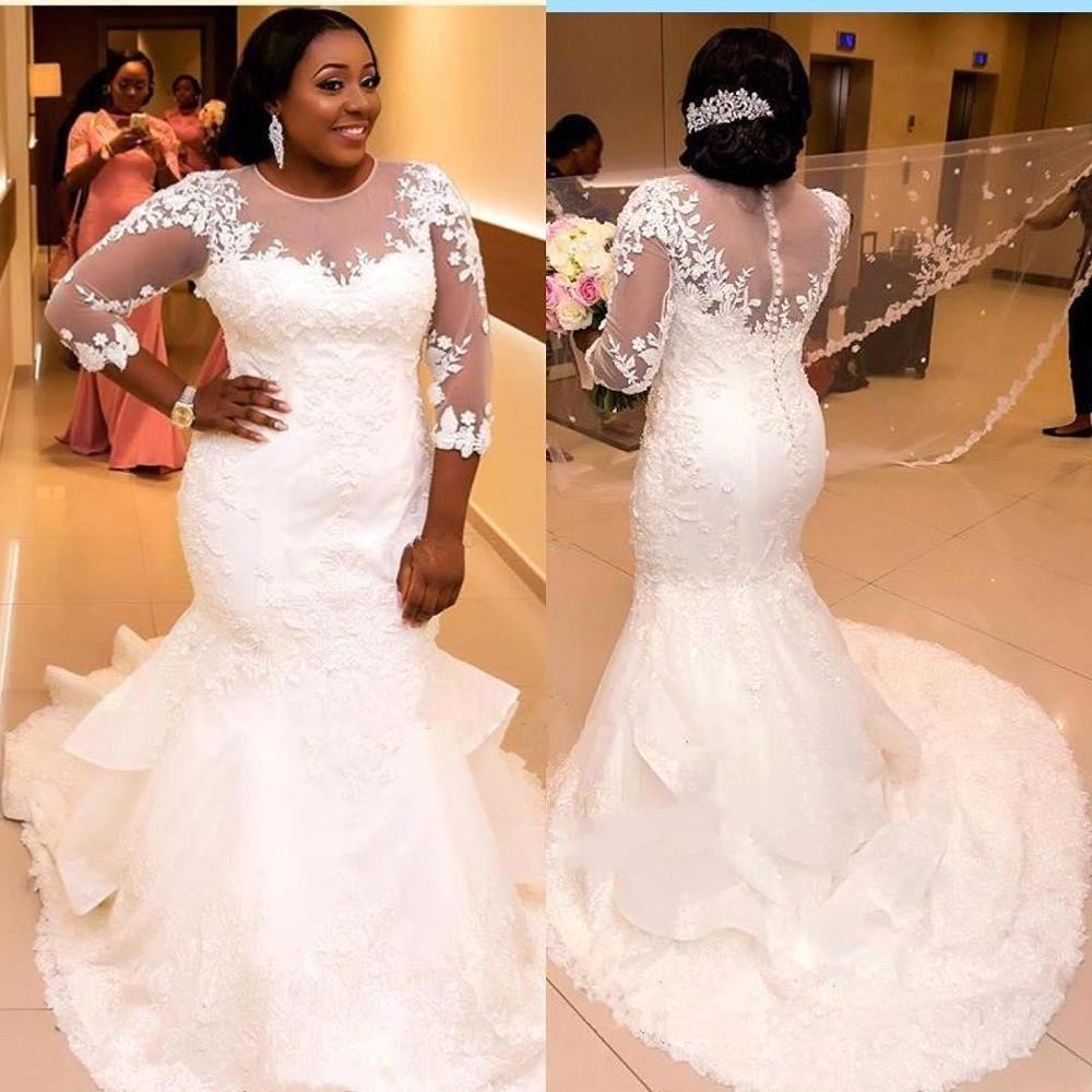 Vestido De Casament African Mermaid Plus Size Lace Appliqued Wedding Dresses 2020 Illusion 3/4 Sleeves Ruffled Train Bride Dress