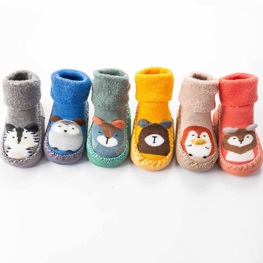 Autumn Winter Baby Socks With Rubber shoes kids Socks Cartoon Sock Infant Baby Anti-slip Step Floor Soles Leather baby steps