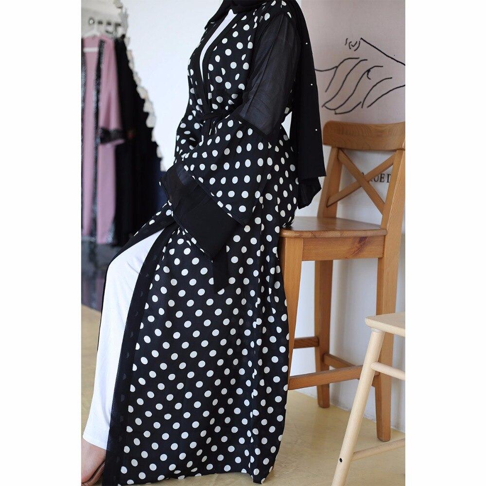 Elegant Muslim Black Dot Vestidos Abaya Full Dresses Cardigan Kaftan Kimono Long Robe Gowns Tunic Jubah Ramadan Eid Arab Islamic