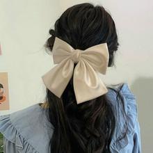 Ponadgabarytowe kokardki akcesoria do włosów moda satynowa wstążka spinki do włosów duża kokarda spinki do włosów damskie dziewczęce satynowe damskie spinki do włosów śliczne tanie tanio CN (pochodzenie) cloth WOMEN Dla dorosłych Barrettes Stałe Daily China daisy Solid color Metal Hair Clip Girl women